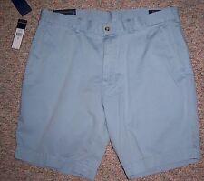 "RALPH LAUREN Light Blue Flat Front Khaki Casual Shorts 9"" Inseam Size 36 NWT"
