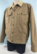 LL BEAN Sherpa Trucker Jacket Large Button Tan Brown