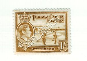 1938 -83 YEARS OLD    CARIBBEAN  TURKS & CAICOS ISLANDS  1 SPECIMEN 1 SHILLING