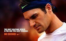 ROGER FEDERER RARE NO EXCUSES ATP TOUR TENNIS POSTER AUSTRALIAN OPEN 2018