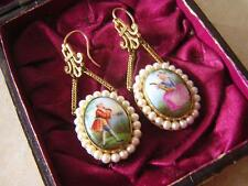 BEAUTIFUL ANTIQUE VICTORIAN FRENCH ROMANTIC PORCELAIN & PEARL EARRINGS 1860