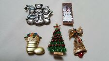 5Vintage Christmas Brooch Pins/1 is Gerry's-Boot Snowman Christmas Tree Bell