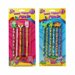 6 Pack Novelty Eraser Top Pencils - Girls Boys Cute Animals Design School Case