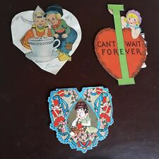Set of 3 Vintage 1930s Valentine Cards Rare Kids Boy Girl 1-homemade Usa