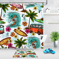 "72"" Waterproof Fabric Shower Curtain Set Hand Drawn Tropical Palm Trees Surfing"