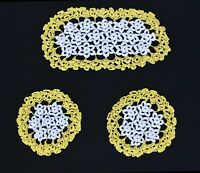 Set of 3 Vintage Yellow White Floral Crochet Chair or Dresser Set Doilies
