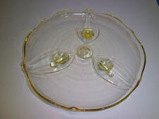 Vintage Yellow Depression Glass Footed Cake Plate Spring Excellent Condition