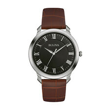 Bulova Classic Collection Men's Quartz Brown Leather Band 41 mm Watch 96A184