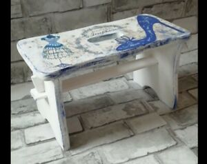 Small Pine Wood Step Stool Wooden Chair Shabby Chic hand  painted decoupaged