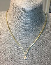 Tiny pearl pendant necklace 90s style gold tone chain with rhinestone costume