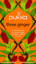 Pukka Three Ginger Tea - Ginger, Galangal & Golden Turmeric 20 Teabags