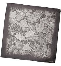Valentino Black Floral And Lace Print Georgette Silk Scarf - Great Gift