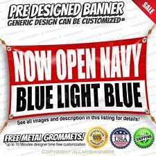 Now Open Navy Blue Light Blue Custom Vinyl Banner Advertising Sign