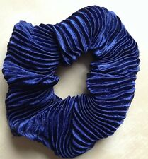 A Navy Blue Pleated Satin Scrunchie Ponytail Band / Bobble