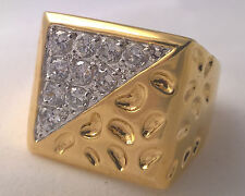 G-Filled Men's 18ct yellow gold simulated diamond ring Gents triangle 12.2 grams