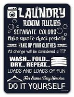 "Laundry Room Decor, Laundry Room Rules Tin Funny Laundry Signs 9"" x 12"""