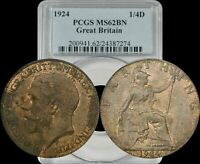 1924 Great Britain 1/4 Farthing PCGS MS62BN Top Population Highest Grade Known