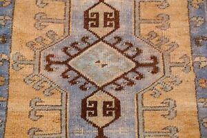 Geometric Antique Look Light Orange 2x3 ft Authentic Oushak Turkish Wool Rug