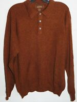 NWOT Mens Medium TASSO ELBA 100% Cashmere Cinnamon Polo Sweater Pullover $210