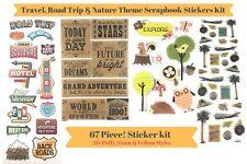 67 Piece! Travel, Road Trip & Nature Theme Scrapbook Stickers Kit