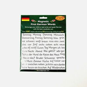 German Words Language Travel Starter Learning with Translations Magnetic Tiles