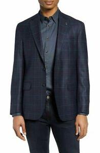 Ted Baker Endurance Mens Konan Wool Check Blazer Jacket Sport Coat Navy Size 42S