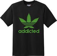 Funny Addicted Marijuana Pot Weed Smoke Humor Gift T Shirt New Graphic Tee