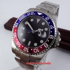 43mm Parnis Schwarz dial GMT Datum Herren Automatikuhr Saphirglas Uhr mens watch