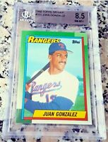 JUAN GONZALEZ 1990 Topps TIFFANY SP Rookie Card RC BGS 8.5 9 Rangers 434 HRs $$$