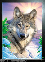 NEW BLACK FRAMED WOLF FAMILY ON SNOW MOUNTAIN 3D FLIP PICTURE 365mm X 465mm
