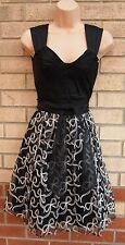 JANE NORMAN BLACK BELTED PROM BOW EMBROIDERED TUTU SKATER PARTY DRESS 10 S