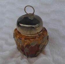 Schmid Japan Glass Cookie Treat Bisquit Jar Musical Lid Filigree Leaf Design
