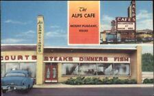 Mt. Mount Pleasant TX Alps Caf' Colorful Roadside Linen Postcard