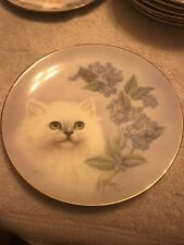 Forget-me-not Cat Plate Petals & Purrs Bob Harrison Hamilton Collection Persian