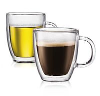 2 Double Wall Clear Insulated Glasses Green Black Tea Coffee Mugs Cups Hot&Cold