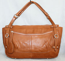 FURLA Tan Brown Leather Belted Satchel with 4 Buckles Silver Hdwr