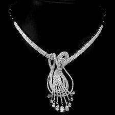FASCINATING! NEW DESIGNED AAA WHITE C.ZIRCONIA STERLING 925 SILVER NECKLACE