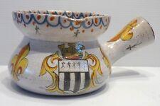 Molto Antico Piccolo CASSERUOLE Pentola in Ceramica Decorazione fiore di giglio