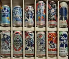 New listing 12 Different 12 & 16 oz. Pabst Blue Ribbon Beer Cans Free Shipping in Usa