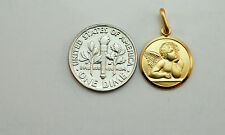 14K solid gold Guardian Angel medal / pendant