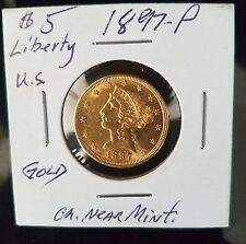 1897-P Liberty Head Half Eagle $5 Gold Coin ~ Very Nice Coin