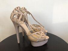 Charlotte Olympia Beige Suede Sandals With Swarowski Diamonds