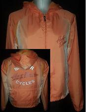 HARLEY DAVIDSON Womens Windbreaker Hoodie Jacket Coat Size Small Orange