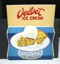 1950's Velvet Ice Cream Sign Pie a la Mode Stand Up Display Soda Fountain unused