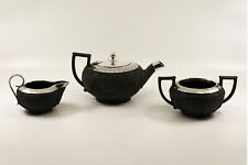 Antique Wedgwood Black Basalt Sterling silver tea Service, inc. teapot c1880's