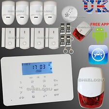 LCD SECURITY WIRELESS DUAL GSM AUTODIAL HOME OFFICE FIRE BURGLAR INTRUDER ALARM
