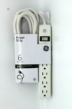 GE 6 Outlet Power Strip 8 Ft Long Extension Cord 14832