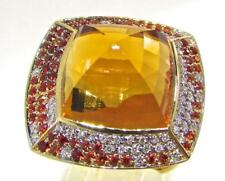 Valente Milano Italy 18 KT Yellow Gold Diamonds Sapphires & Citrines Ring 6-7.5