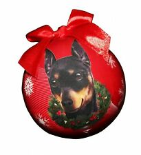 """""""Miniature Pinscher Christmas Ornament"""" Shatter Proof Ball Easy To Personaliz."""