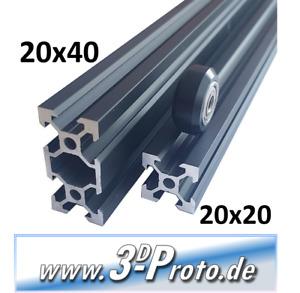 Aluminium V-Slot Profil 20x20 oder 20x40, 500mm-1000mm,  Schwarz, Eloxiert